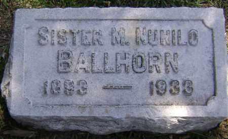 BALLHORN, SISTER M. NUNILO - El Paso County, Colorado | SISTER M. NUNILO BALLHORN - Colorado Gravestone Photos