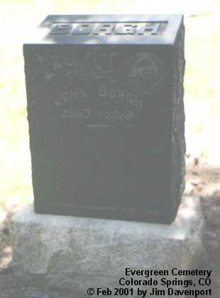 BORGH, JOHN - El Paso County, Colorado | JOHN BORGH - Colorado Gravestone Photos