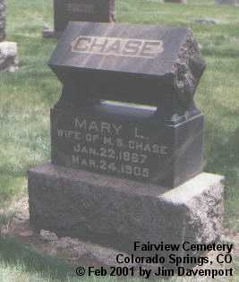 CHASE, MARY L. - El Paso County, Colorado | MARY L. CHASE - Colorado Gravestone Photos