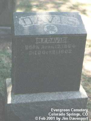 DAVIS, R. F. - El Paso County, Colorado | R. F. DAVIS - Colorado Gravestone Photos