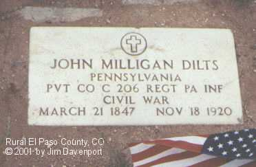 DILTS, JOHN MILLIGAN - El Paso County, Colorado | JOHN MILLIGAN DILTS - Colorado Gravestone Photos