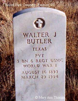 BUTLER, WALTER J. - Fremont County, Colorado | WALTER J. BUTLER - Colorado Gravestone Photos