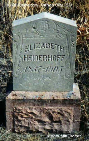 HEIDERHOFF, ELIZABETH - Fremont County, Colorado   ELIZABETH HEIDERHOFF - Colorado Gravestone Photos
