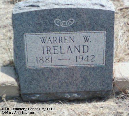 IRELAND, WARREN W. - Fremont County, Colorado | WARREN W. IRELAND - Colorado Gravestone Photos