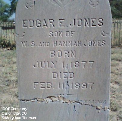 JONES, EDGAR E. - Fremont County, Colorado | EDGAR E. JONES - Colorado Gravestone Photos