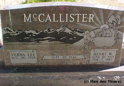 MCCALLISTER, VERNA LEE - Fremont County, Colorado | VERNA LEE MCCALLISTER - Colorado Gravestone Photos