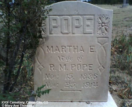 POPE, MARTHA E. - Fremont County, Colorado | MARTHA E. POPE - Colorado Gravestone Photos