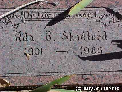 SHADFORD, ADA - Fremont County, Colorado | ADA SHADFORD - Colorado Gravestone Photos