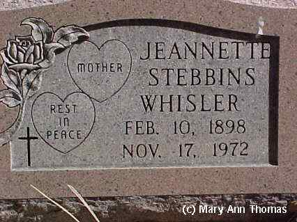 WHISLER, JEANETTE STEBBINS - Fremont County, Colorado | JEANETTE STEBBINS WHISLER - Colorado Gravestone Photos