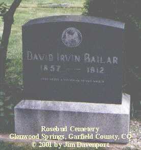 BAILER, DAVID IRVIN - Garfield County, Colorado | DAVID IRVIN BAILER - Colorado Gravestone Photos