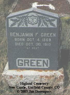 GREEN, BENJAMIN F. - Garfield County, Colorado | BENJAMIN F. GREEN - Colorado Gravestone Photos