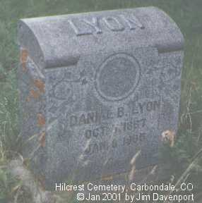 LYON, DANIEL B. - Garfield County, Colorado | DANIEL B. LYON - Colorado Gravestone Photos