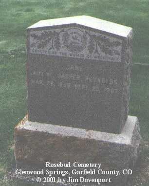 REYNOLDS, JANE - Garfield County, Colorado | JANE REYNOLDS - Colorado Gravestone Photos