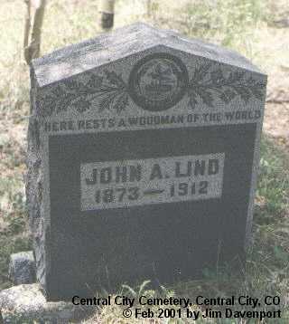 LIND, JOHN A. - Gilpin County, Colorado | JOHN A. LIND - Colorado Gravestone Photos