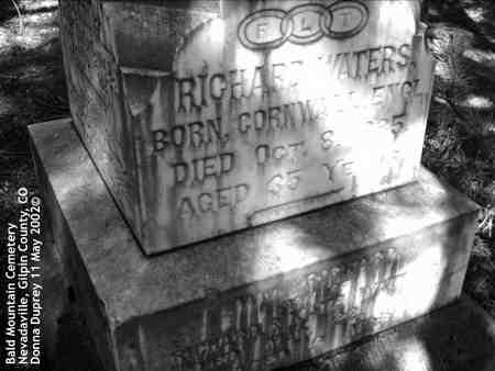 WATERS, RICHARD - Gilpin County, Colorado | RICHARD WATERS - Colorado Gravestone Photos