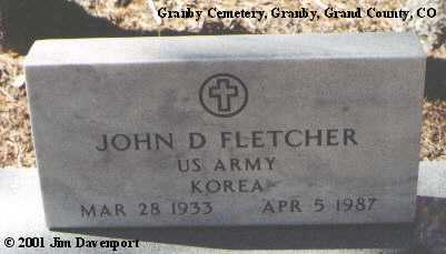 FLETCHER, JOHN D. - Grand County, Colorado | JOHN D. FLETCHER - Colorado Gravestone Photos