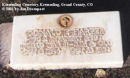 HARPER, DONALD E. - Grand County, Colorado | DONALD E. HARPER - Colorado Gravestone Photos