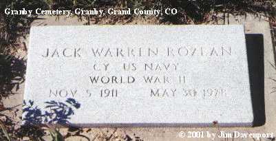 ROZEAN, JACK WARREN - Grand County, Colorado | JACK WARREN ROZEAN - Colorado Gravestone Photos