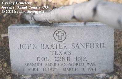 SANFORD, JOHN BAXTER - Grand County, Colorado | JOHN BAXTER SANFORD - Colorado Gravestone Photos