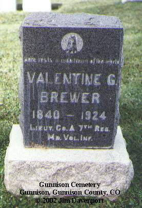 BREWER, VALENTINE G. - Gunnison County, Colorado | VALENTINE G. BREWER - Colorado Gravestone Photos