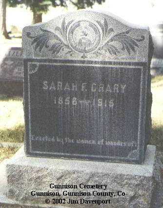 CRARY, SARAH F. - Gunnison County, Colorado | SARAH F. CRARY - Colorado Gravestone Photos