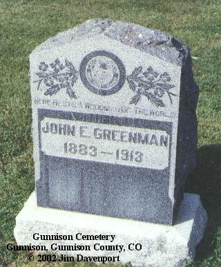 GREENMAN, JOHN E. - Gunnison County, Colorado | JOHN E. GREENMAN - Colorado Gravestone Photos