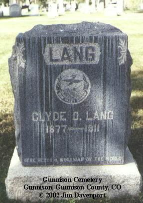 LANG, CLYDE D. - Gunnison County, Colorado   CLYDE D. LANG - Colorado Gravestone Photos