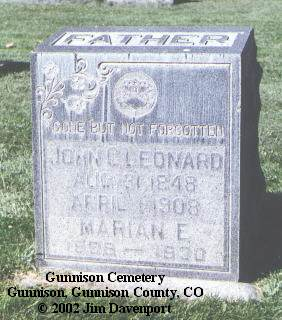 LEONARD, MARIAN E. - Gunnison County, Colorado | MARIAN E. LEONARD - Colorado Gravestone Photos