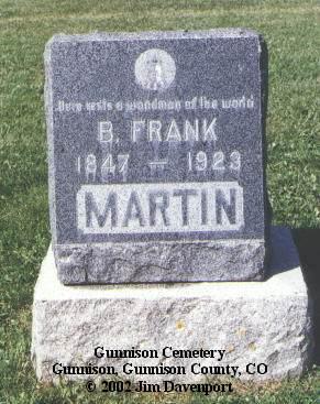 MARTIN, B. FRANK - Gunnison County, Colorado   B. FRANK MARTIN - Colorado Gravestone Photos