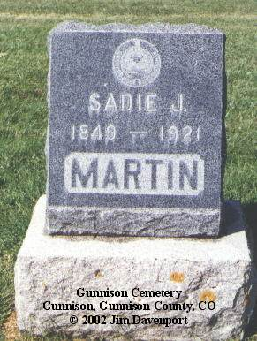 MARTIN, SADIE J. - Gunnison County, Colorado | SADIE J. MARTIN - Colorado Gravestone Photos