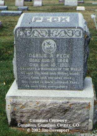 PECK, DARIUS R. - Gunnison County, Colorado | DARIUS R. PECK - Colorado Gravestone Photos
