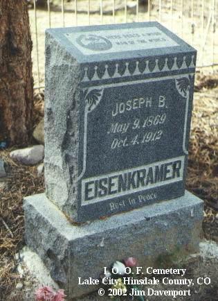 EISENKRAMER, JOSEPH B. - Hinsdale County, Colorado | JOSEPH B. EISENKRAMER - Colorado Gravestone Photos