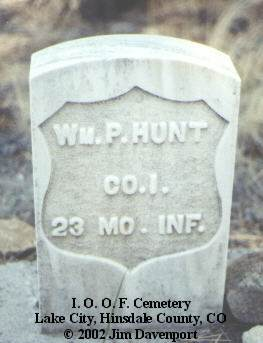 HUNT, WM. P. - Hinsdale County, Colorado | WM. P. HUNT - Colorado Gravestone Photos