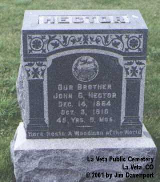HECTOR, JOHN G. - Huerfano County, Colorado | JOHN G. HECTOR - Colorado Gravestone Photos