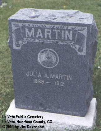 MARTIN, JULIA A. - Huerfano County, Colorado | JULIA A. MARTIN - Colorado Gravestone Photos