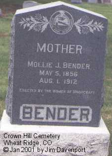 BENDER, MOLLY J. - Jefferson County, Colorado | MOLLY J. BENDER - Colorado Gravestone Photos