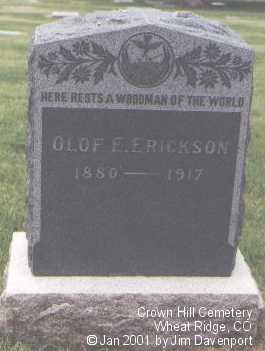 ERICKSON, OLOF E. - Jefferson County, Colorado | OLOF E. ERICKSON - Colorado Gravestone Photos