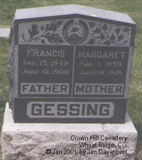 GESSING, FRANCIS - Jefferson County, Colorado | FRANCIS GESSING - Colorado Gravestone Photos