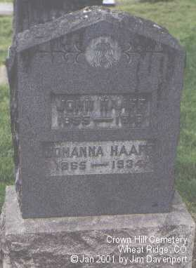 HAAFF, JOHN - Jefferson County, Colorado | JOHN HAAFF - Colorado Gravestone Photos