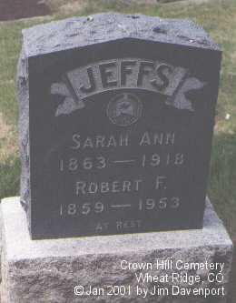 JEFFS, SARAH ANN - Jefferson County, Colorado | SARAH ANN JEFFS - Colorado Gravestone Photos