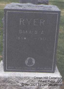 RYER, DONALD A. - Jefferson County, Colorado | DONALD A. RYER - Colorado Gravestone Photos