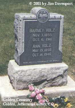 VOLZ, BARNEY - Jefferson County, Colorado | BARNEY VOLZ - Colorado Gravestone Photos