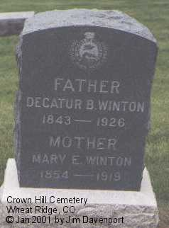 WINTON, DECATUR D. - Jefferson County, Colorado | DECATUR D. WINTON - Colorado Gravestone Photos