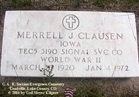 CLAUSEN, MERRELL J. - Lake County, Colorado | MERRELL J. CLAUSEN - Colorado Gravestone Photos