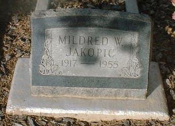 JAKOPIC, MILDRED W. - Lake County, Colorado   MILDRED W. JAKOPIC - Colorado Gravestone Photos