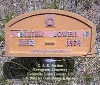 JOWELL, BERTHA - Lake County, Colorado | BERTHA JOWELL - Colorado Gravestone Photos