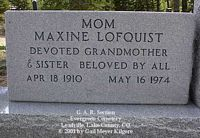 LOFQUIST, MAXINE - Lake County, Colorado | MAXINE LOFQUIST - Colorado Gravestone Photos
