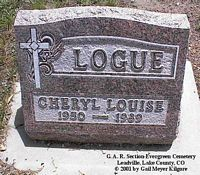 LOGUE, CHERYL LOUISE - Lake County, Colorado | CHERYL LOUISE LOGUE - Colorado Gravestone Photos