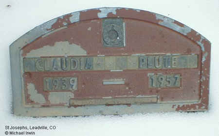 PLUTE, CLAUDIA - Lake County, Colorado | CLAUDIA PLUTE - Colorado Gravestone Photos