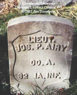 AIRY, JOS. P. - La Plata County, Colorado | JOS. P. AIRY - Colorado Gravestone Photos